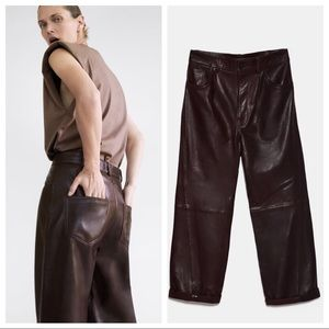 ZARA 100% LEATHER HIGH-WAIST/STRAIGHT-LEG TROUSERS